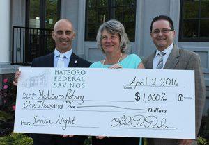 From Left: Hatboro Rotary Board Member Gary Chamberlain, Hatboro Federal CEO/President Linda Roehner, Hatboro Rotary Board Member Tom Bender