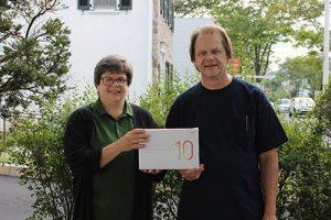 From Left: Hatboro Federal Branch Coordinator Suzanne Rush, Tablet Winner Mr. Michael Masanis