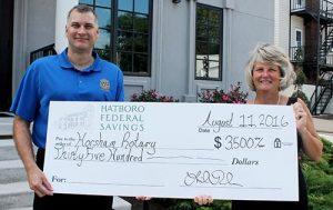 From Left: Horsham Rotary Club President Tom Rafferty, Hatboro Federal CEO/President Linda Roehner